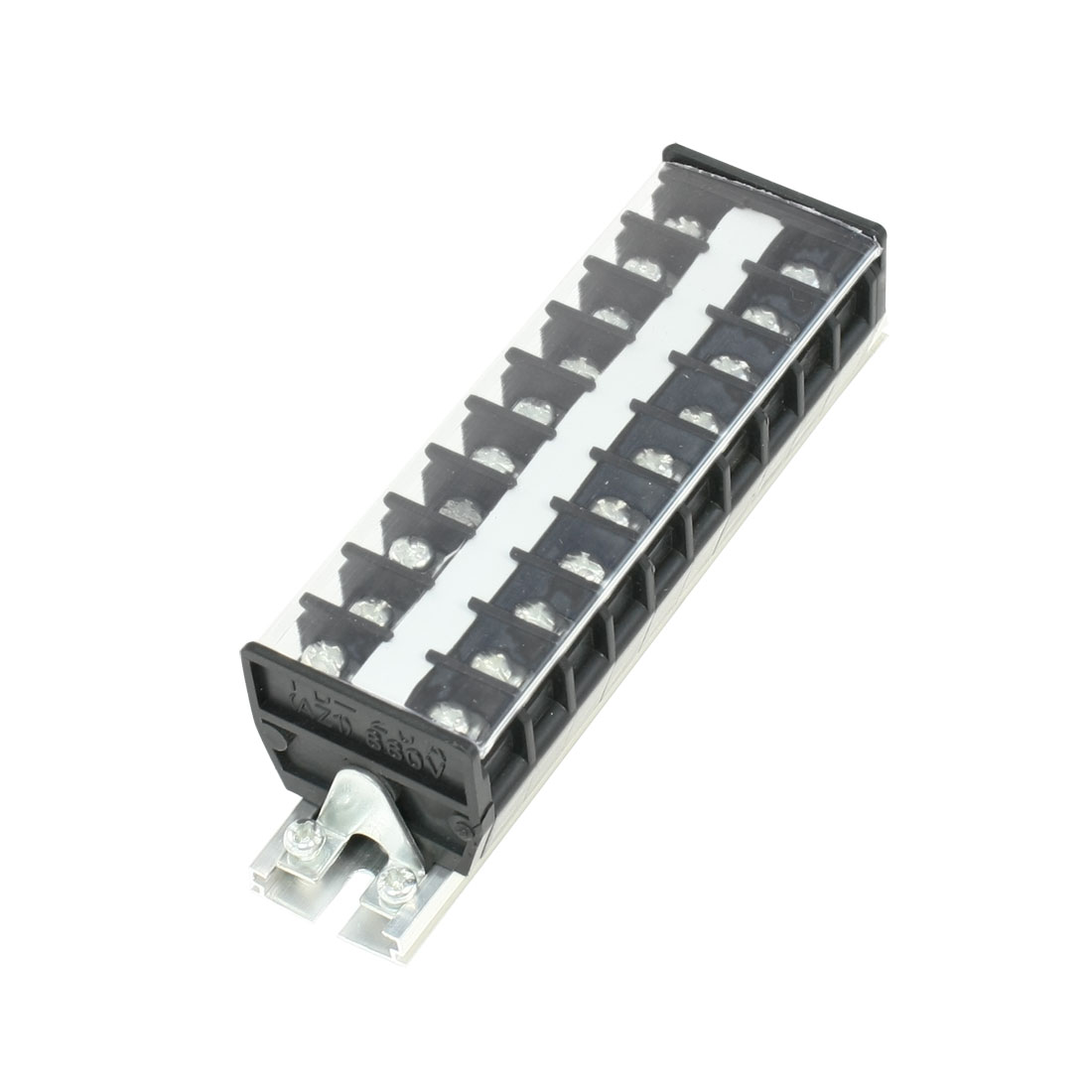 660V 20A DIN Rail Base Dual Row 10 Position Screw Terminal Barrier Strip