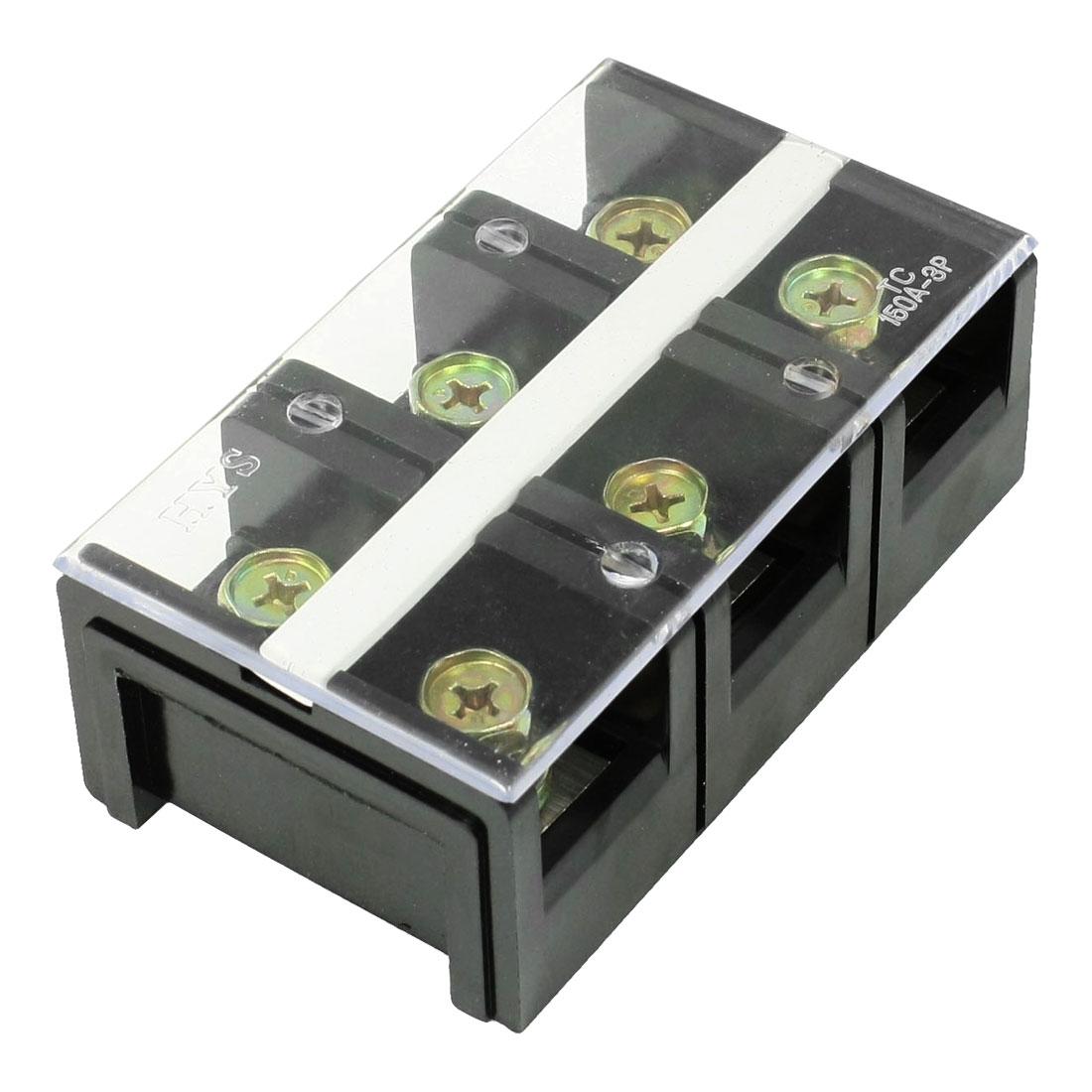 150V 100A 3 Position Dual Row Barrier Block Screw Terminal Strip
