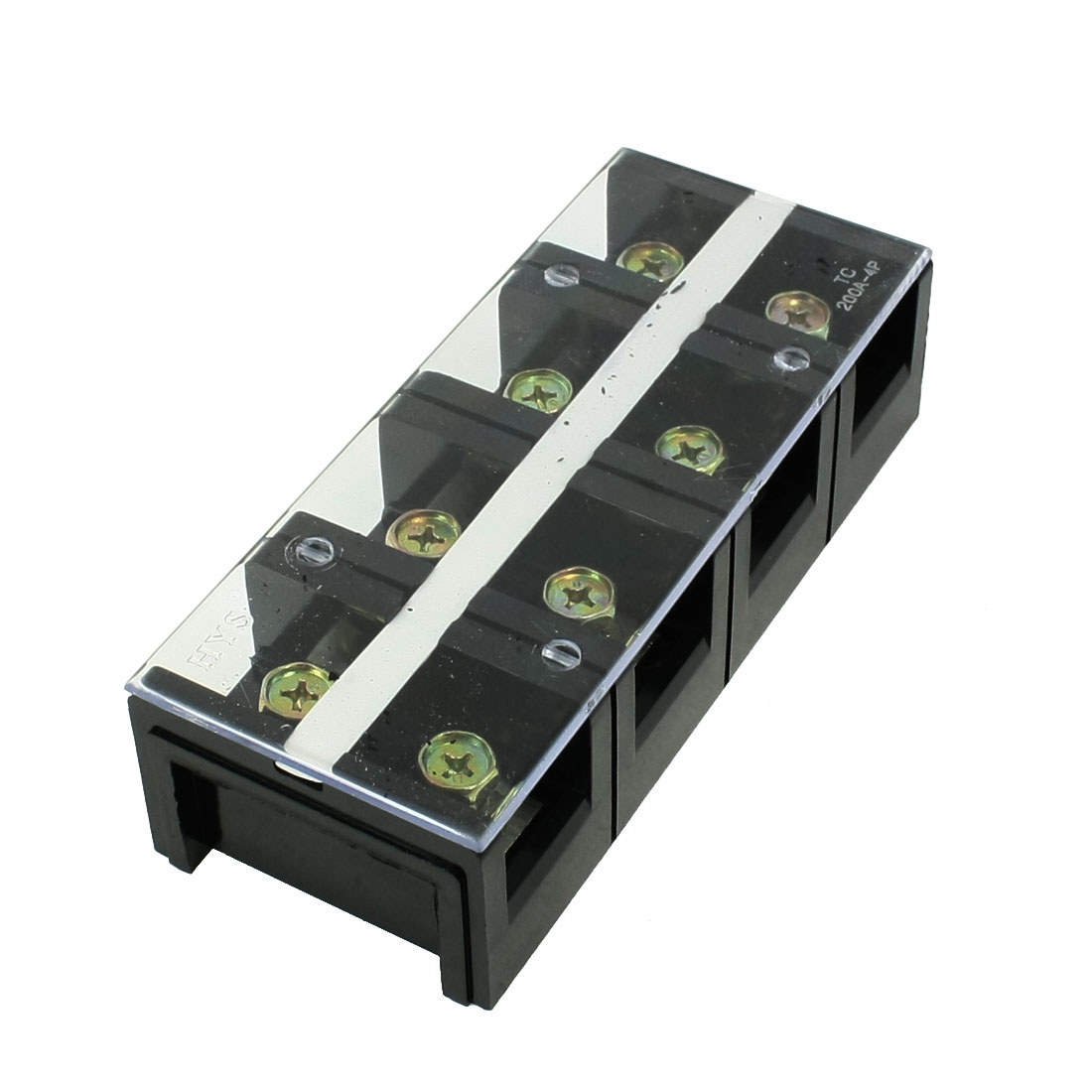 600V 200A Dual Row 4 Positions Barrier Screw Terminal Block Black