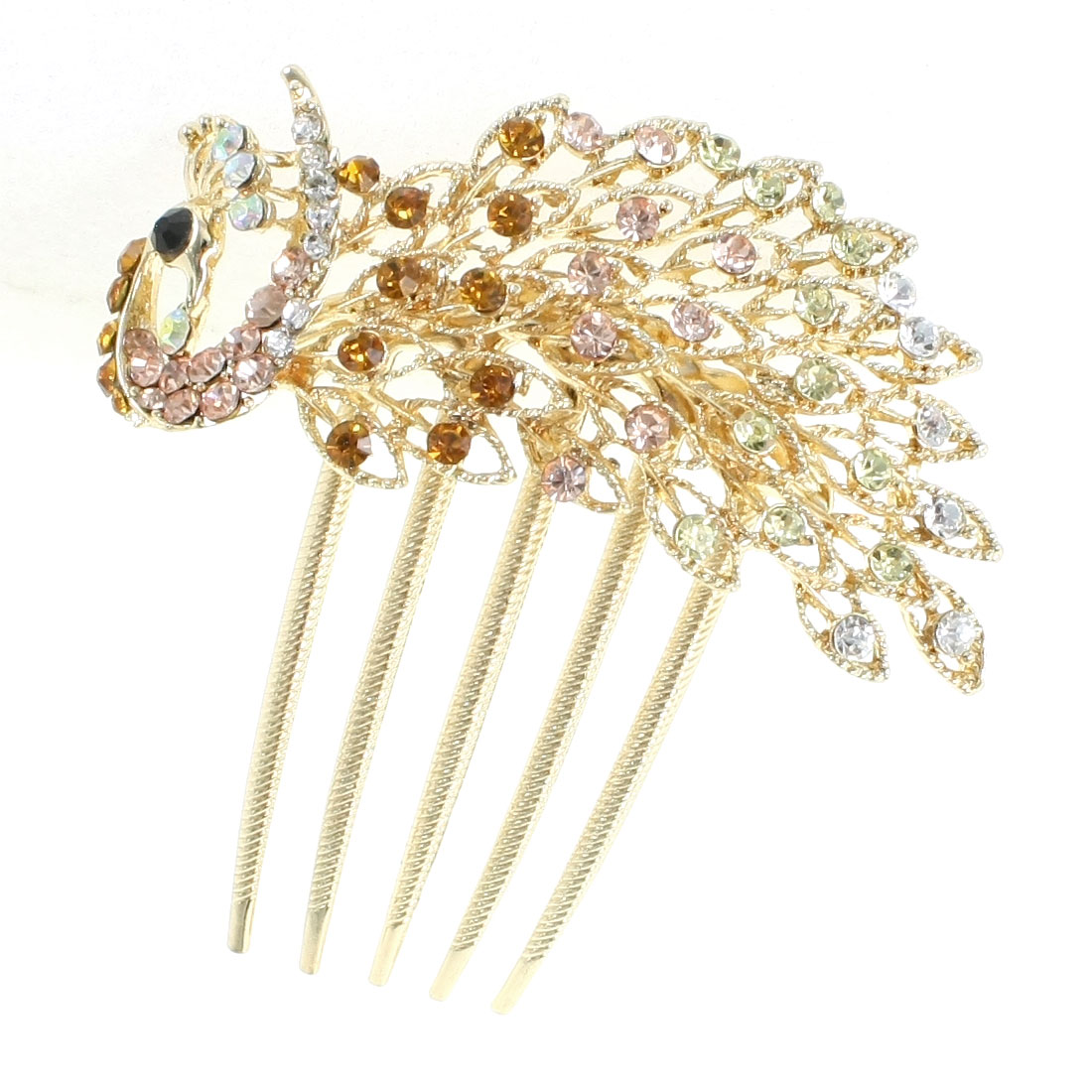 Colorful Rhinestone Detail Metal Prong Peacock Hair Comb Clip Claw for Lady