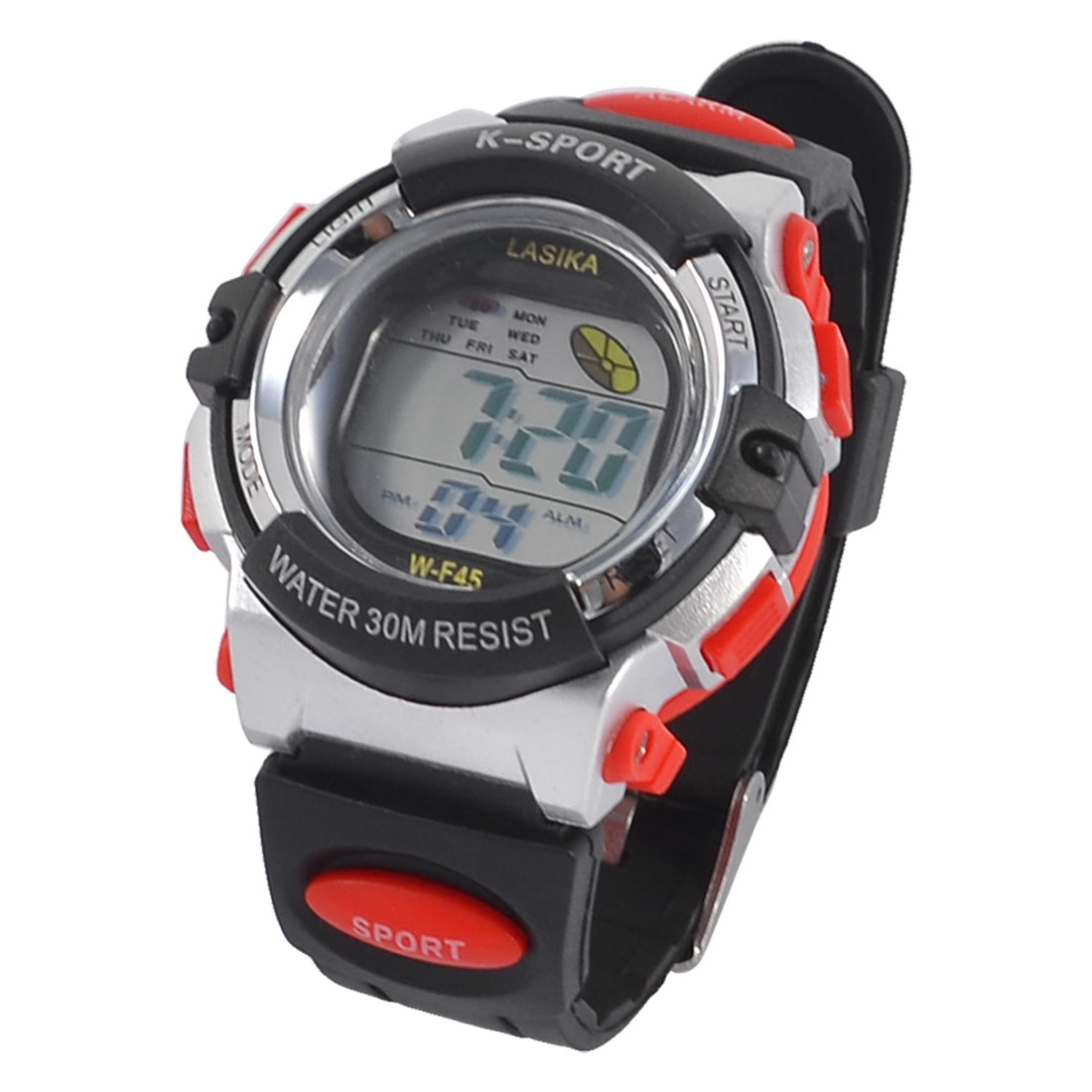 Soft Plastic LCD Digital Display Sport Wrist Watch Red Black for Child