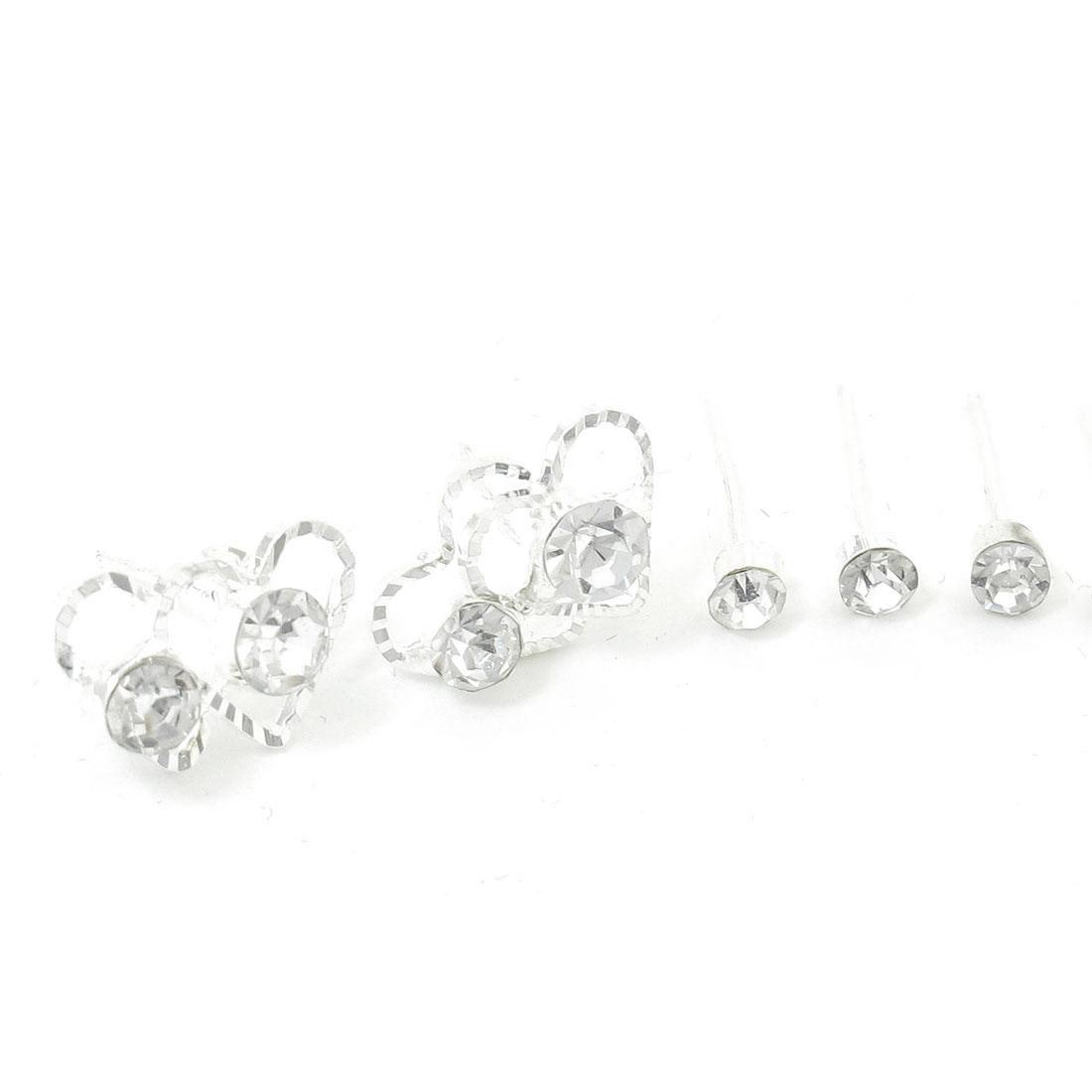 Lady Heart Shape Shiny Rhinestones Decor Stud Earrings Silver Tone 3 Pairs
