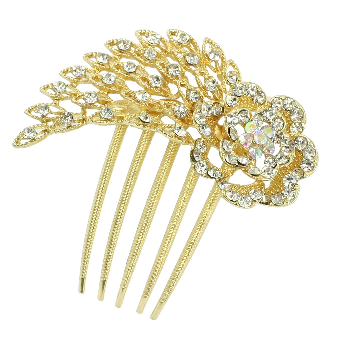 Lady Floral Shaped 5 Teeth Metal Hair Comb Clip Clamp Gold Tone Clear