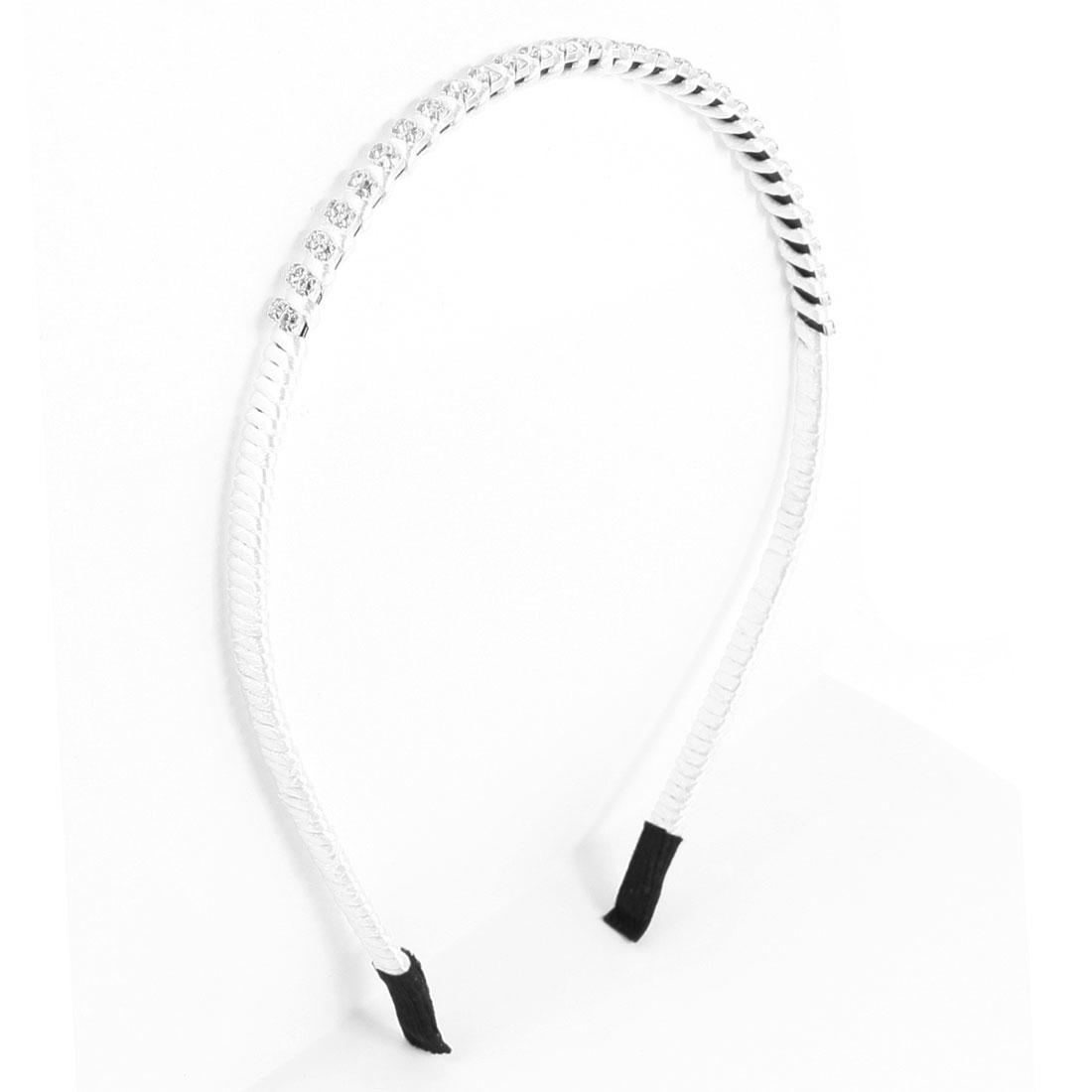 Girls Rhinestone Detailing Plastic Frame Hair Hoop Gift Silver Tone White