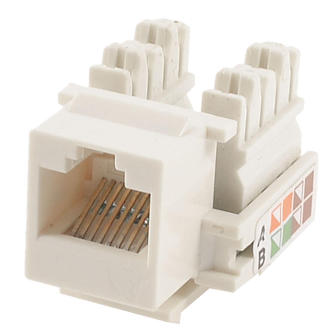 Beige Cat5e RJ45 8P8C Network Module Keystone Jack Socket