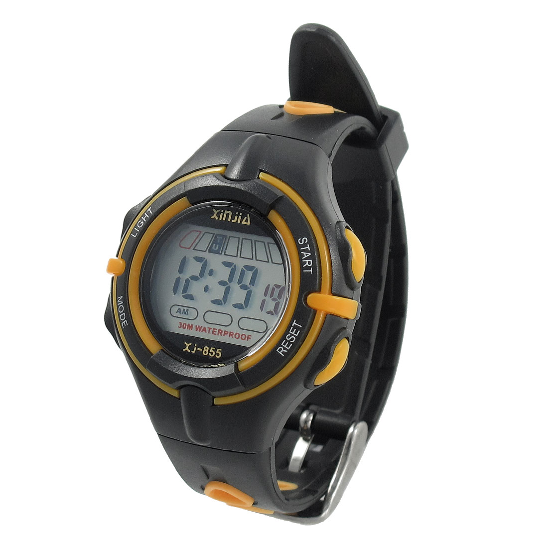 Child Multifunctional Stopwatch Alarm Clock Sports Wrist Watch Yellow Black w Box