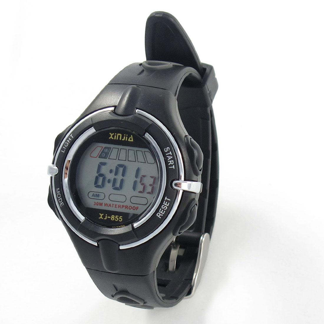 Child Black Adjustable Band Coldlight Stopwatch Alarm Clock Sports Watch