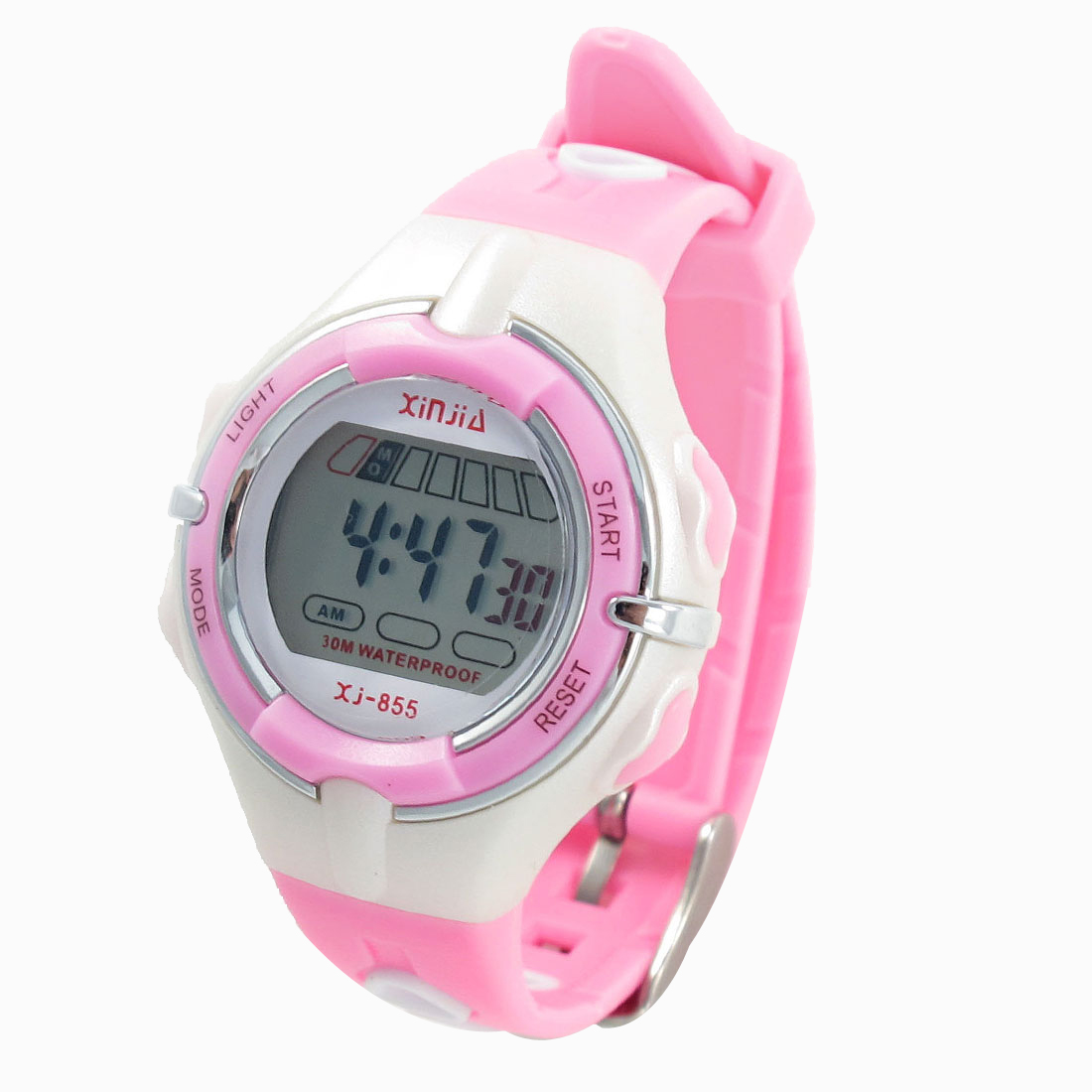 Child Pink White Adjustable Band Coldlight Stopwatch Alarm Clock Sport Watch w Box