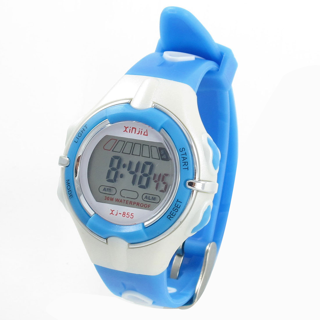 Child Blue White Adjustable Band Coldlight Stopwatch Alarm Clock Sports Watch w Box