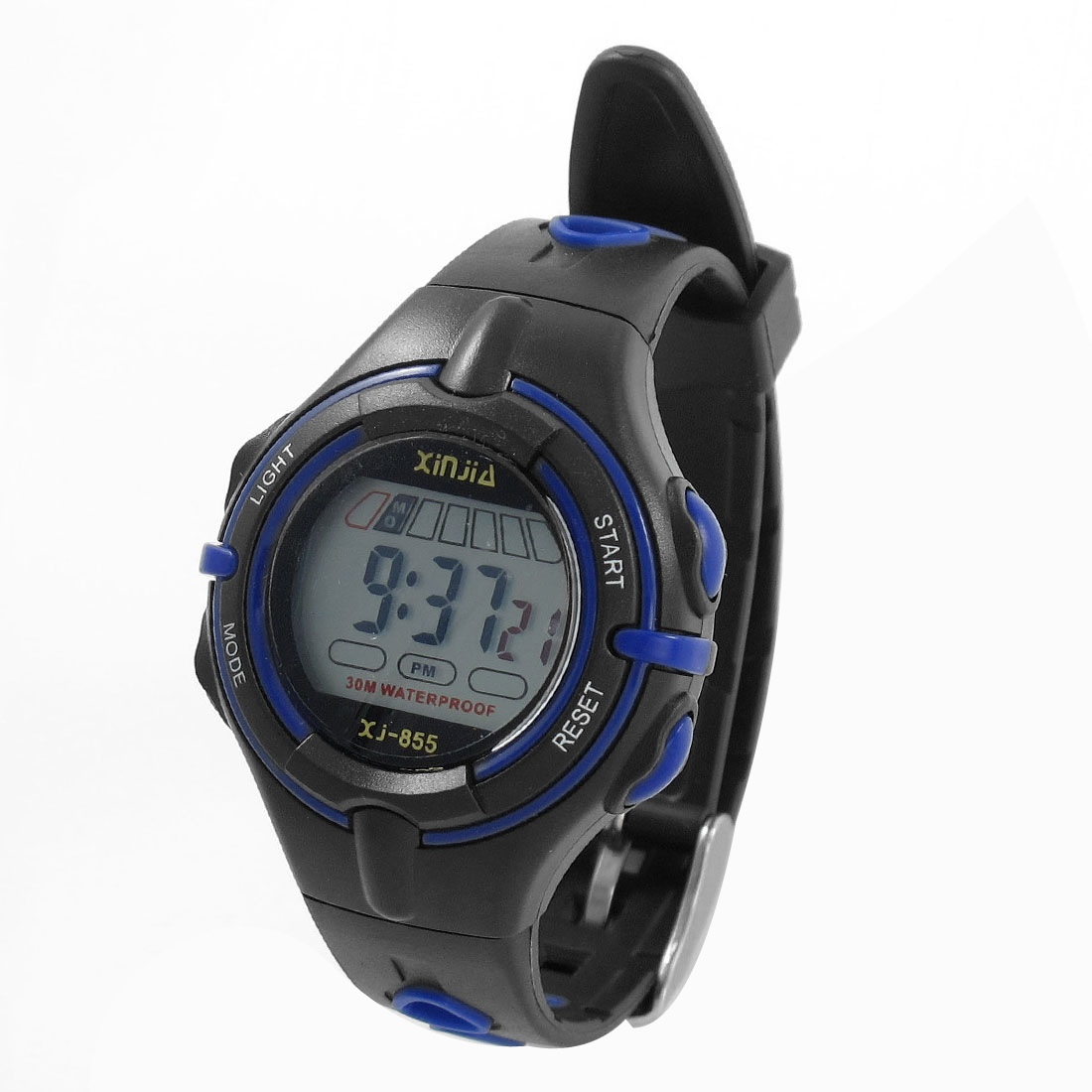 Child Black Blue Adjustable Band Coldlight Stopwatch Alarm Clock Sports Watch w Box