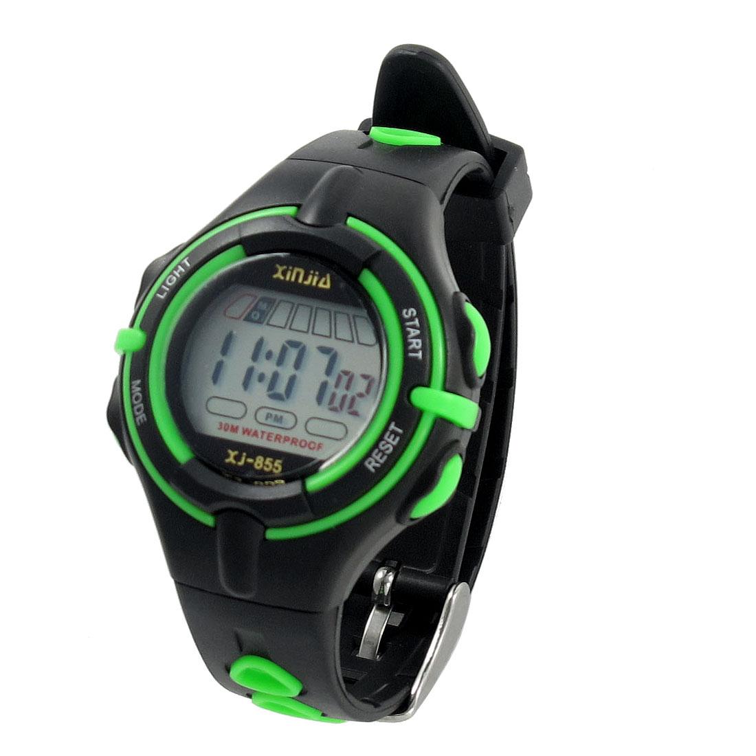 Child Black Green Adjustable Band Coldlight Stopwatch Alarm Clock Sports Watch w Box