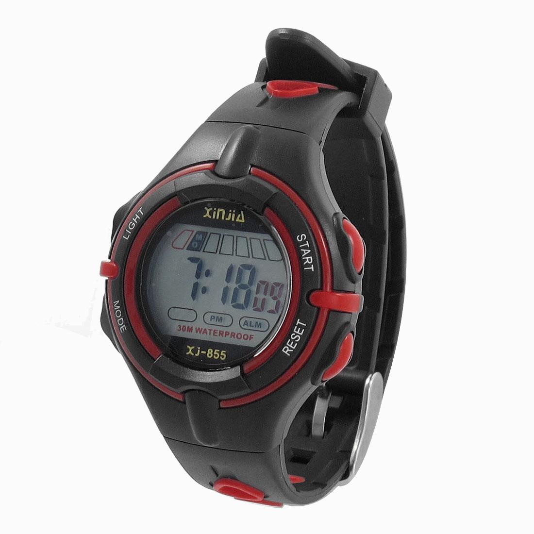 Adjustable Band Coldlight Stopwatch Alarm Clock Sports Wrist Watch Black Red