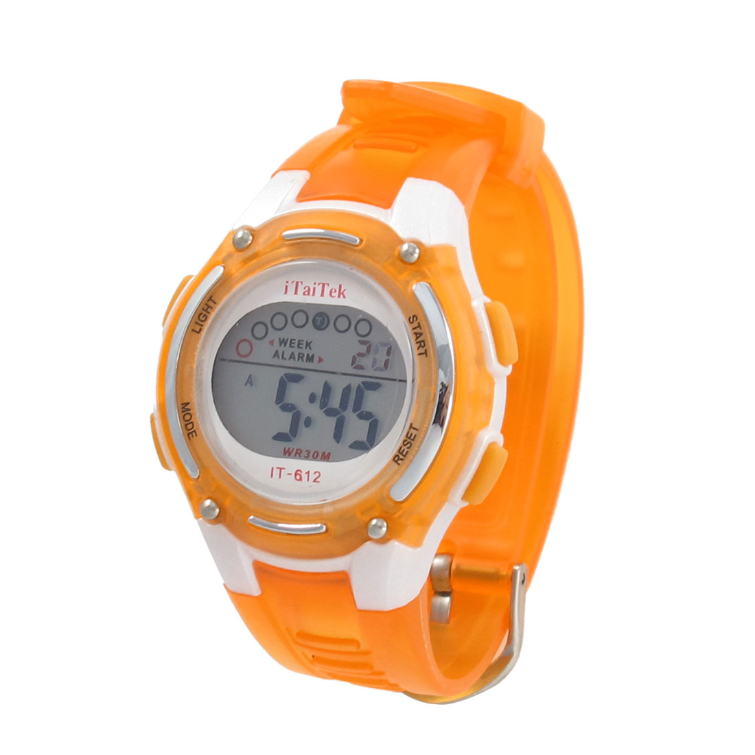 Ladies Adjustable Band Orange Coldlight Stopwatch Alarm Clock Sport Watch w Box