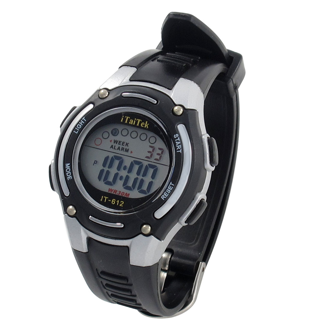 Lady Adjustable Black White Coldlight Stopwatch Alarm Clock Sport Watch w Box