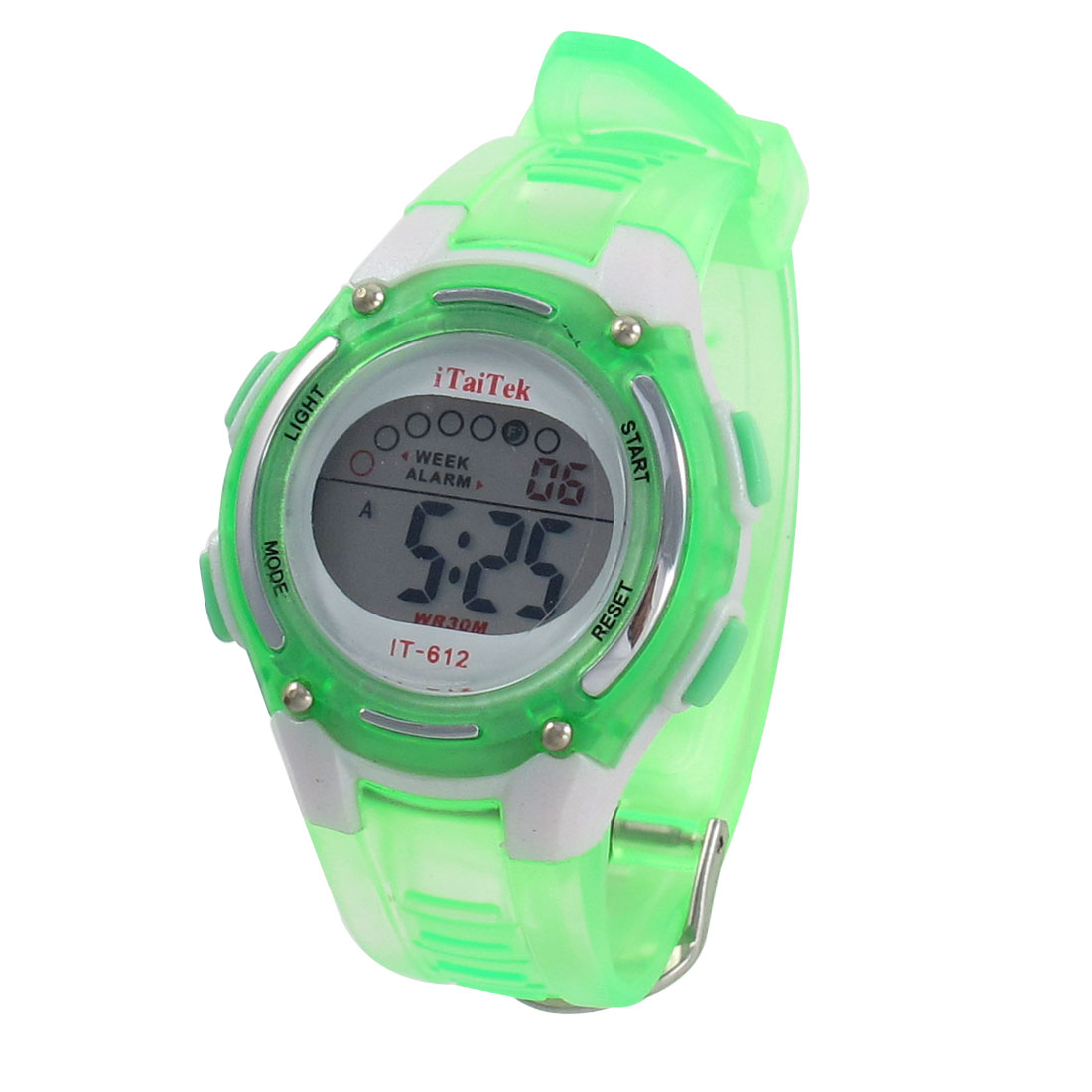 Women Green Adjustable Band Coldlight Stopwatch Alarm Clock Function Sport Watch w Box