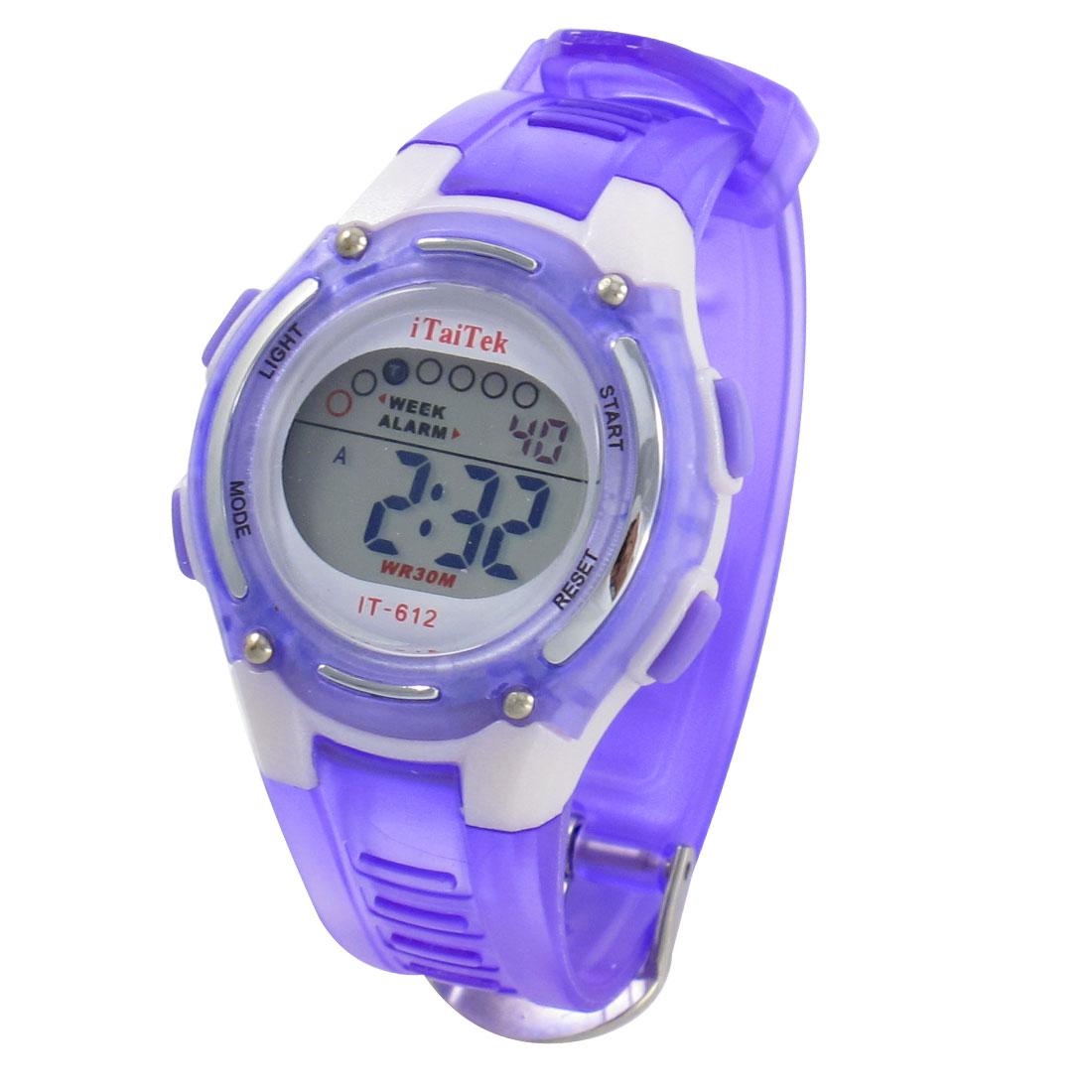 Ladies Adjustable Purple White Coldlight Stopwatch Alarm Clock Sport Watch w Box