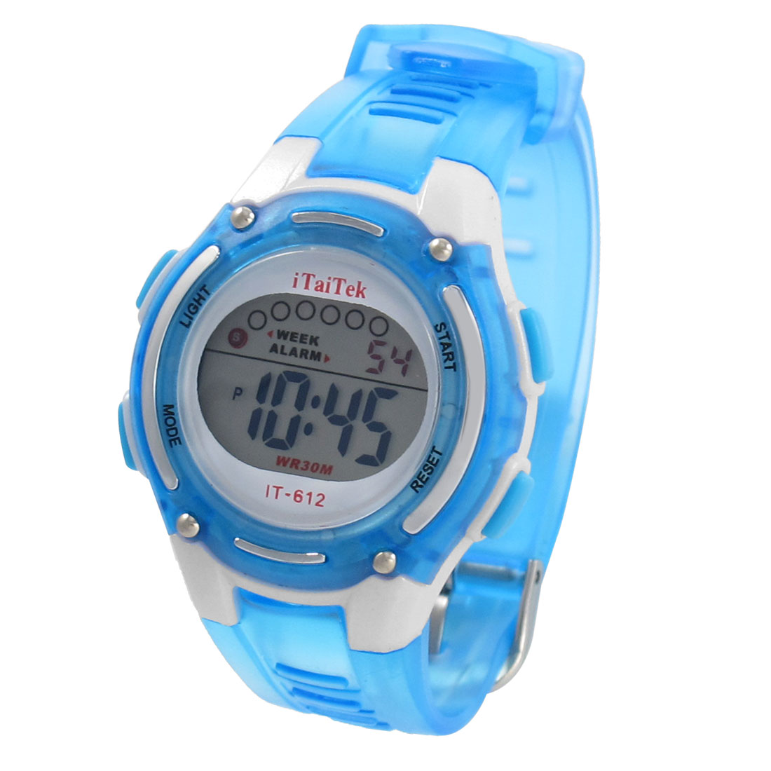 Ladies Adjustable Band Blue Coldlight Stopwatch Alarm Clock Sport Watch w Box