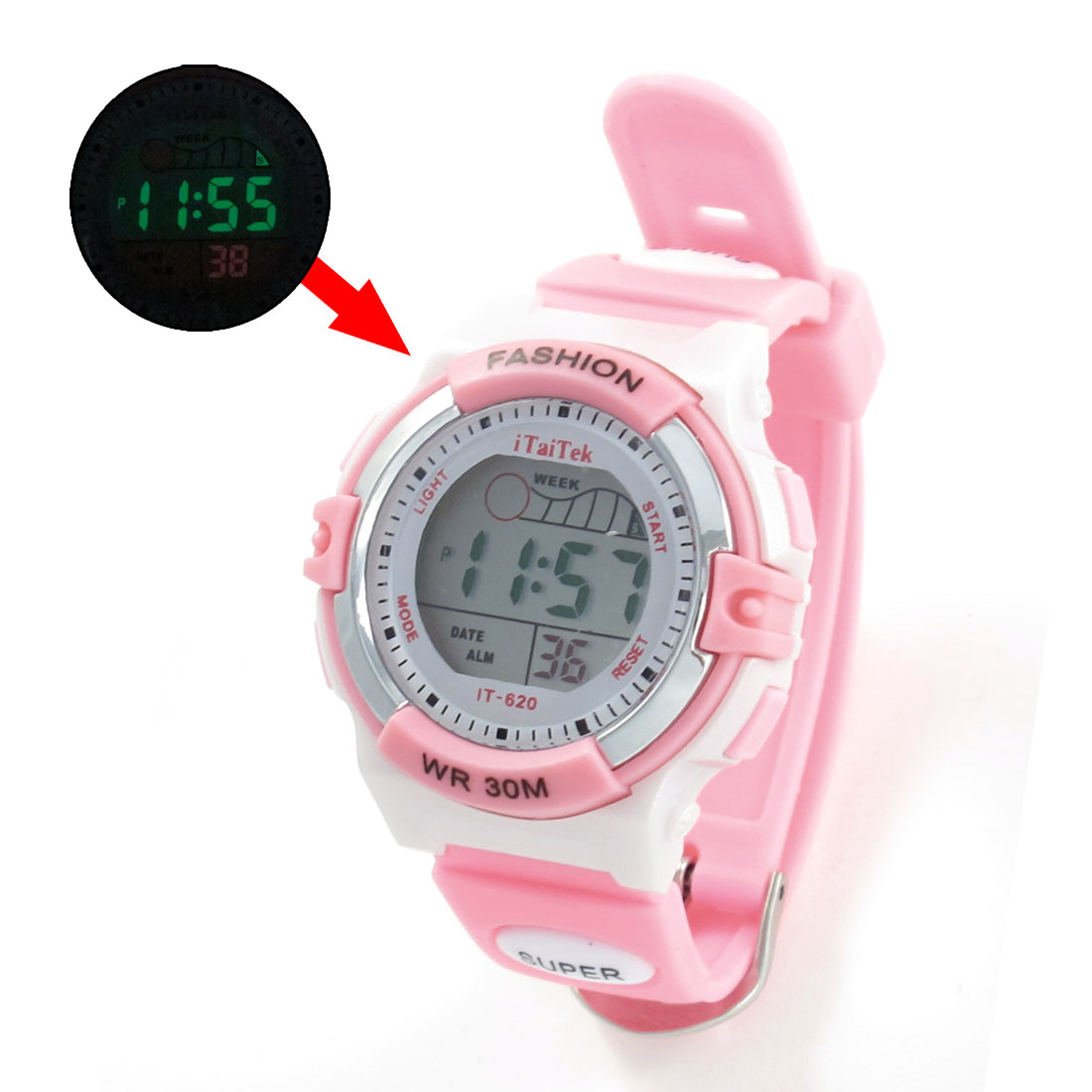 Woman Plastic Band Pink White Cold Light Stopwatch Alarm Clock Sport Watch w Box