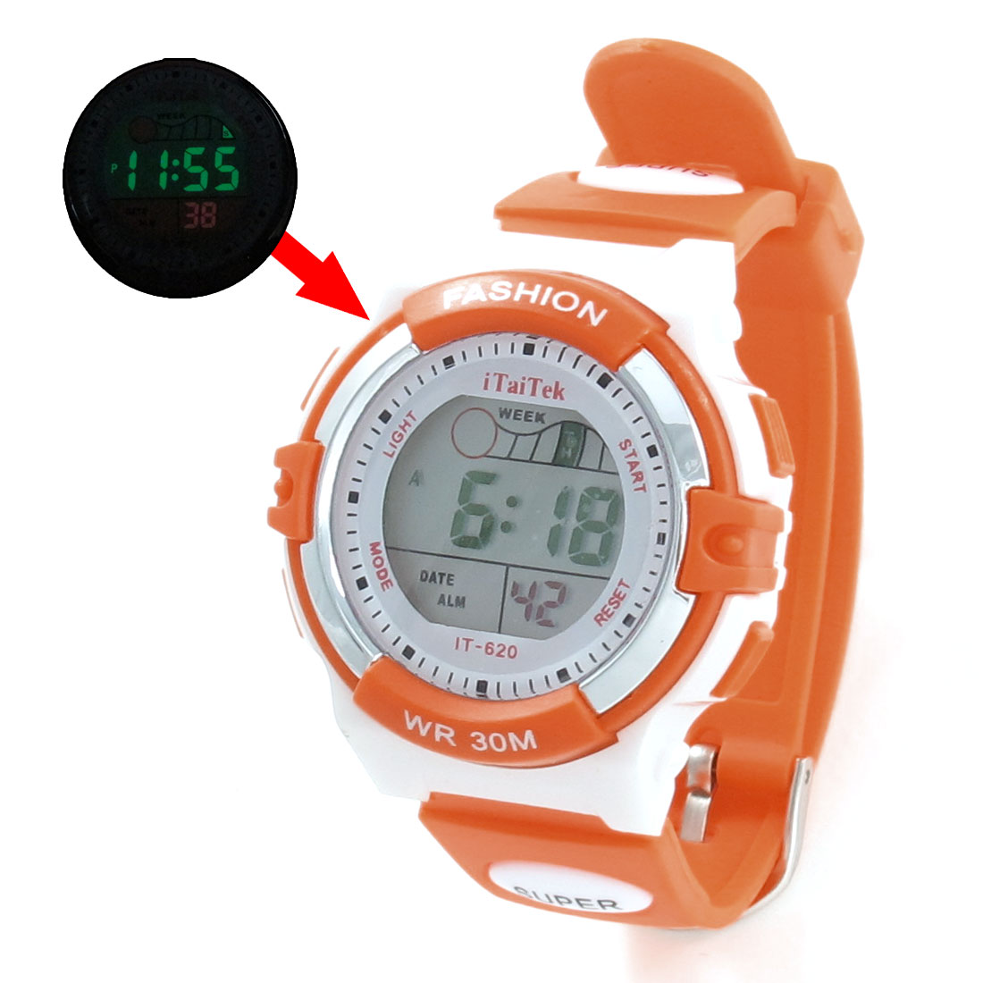 Woman Orange Red Plastic Adjustable Band Alarm Clock Sports Watch w Box