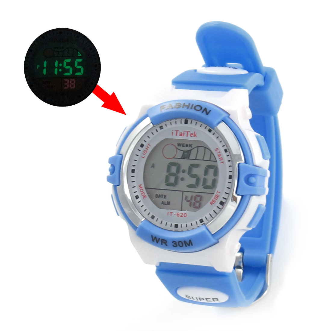Lady Adjustable Band Red White Cold Light Stopwatch Alarm Clock Sport Watch w Box