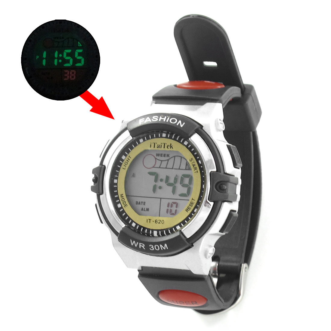 Woman Adjustable Band Black White Cold Light Stopwatch Alarm Clock Sport Watch w Box