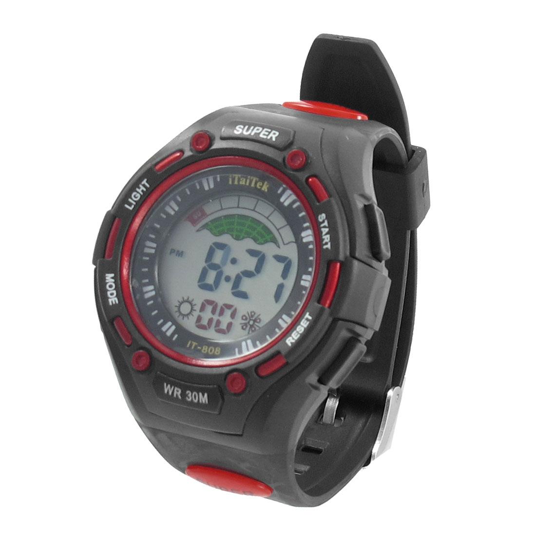 Men Round Dial Cold Light Stopwatch Alarm Clock Sport Watch Black Red