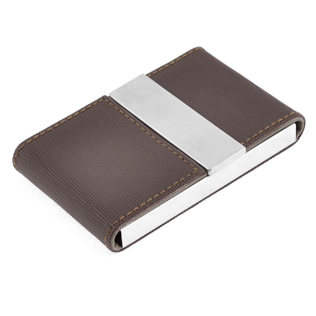 Dark Brown Faux Leather Vertical Striped Pattern Business Name Card Holder Case