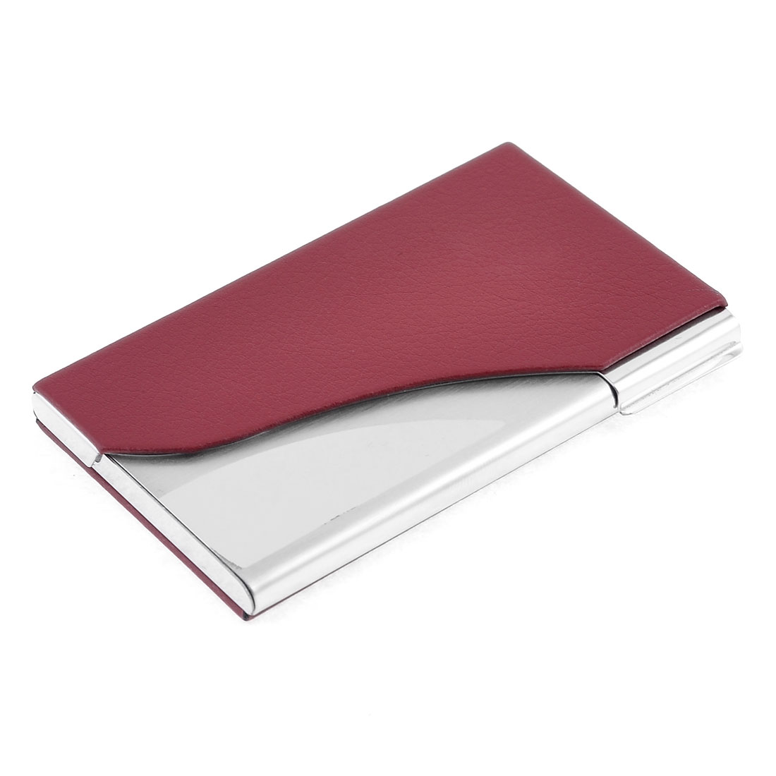 Red Litchi Print Press Closure Faux Leather Coated Metal Business Card Holder Case