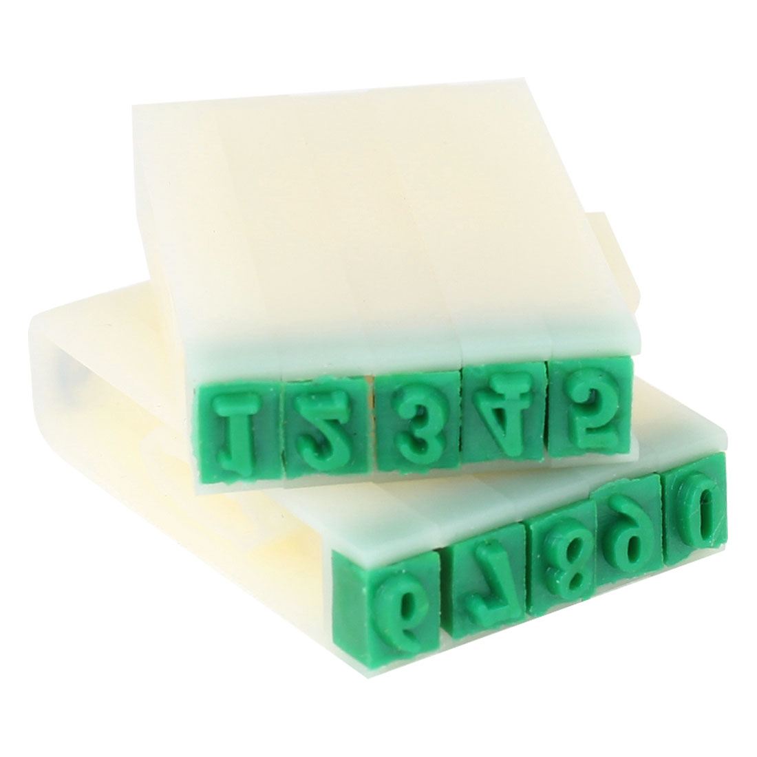 5mm x 3mm Green Rubber Head 10 Arabic Numerals Combination Stamp Set