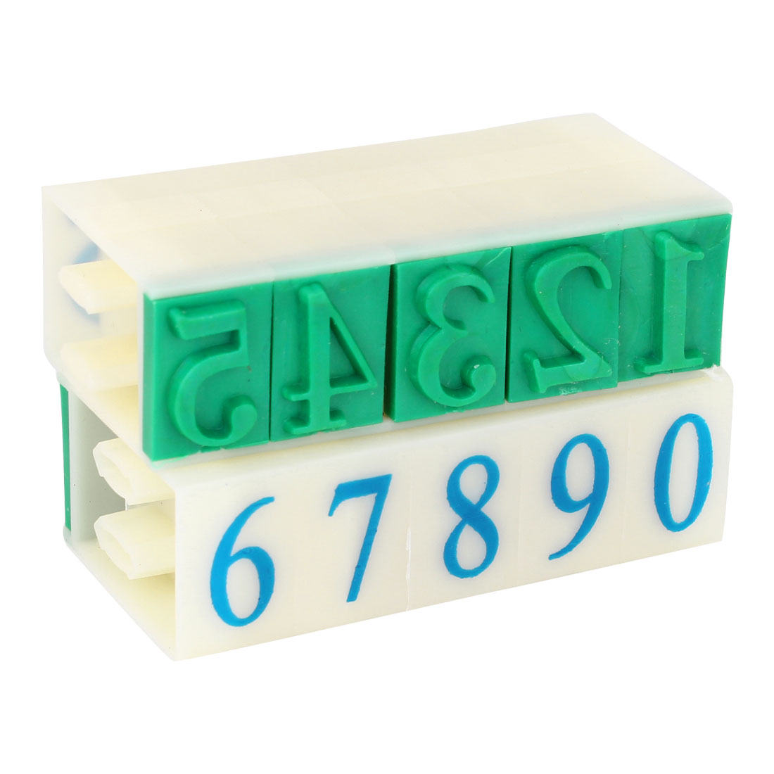 Rubber Head 10 Arabic Numerals Combination Stamp Set Green 18mm x 11mm