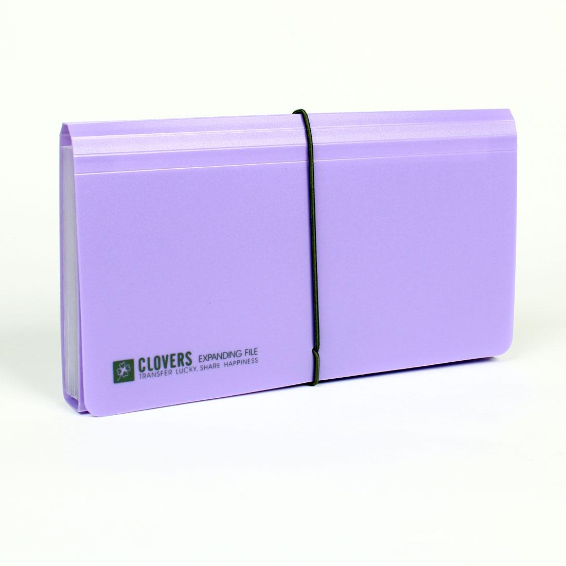 Elastic Strap Closure Rectangle Plastic Letter File Folder Purple