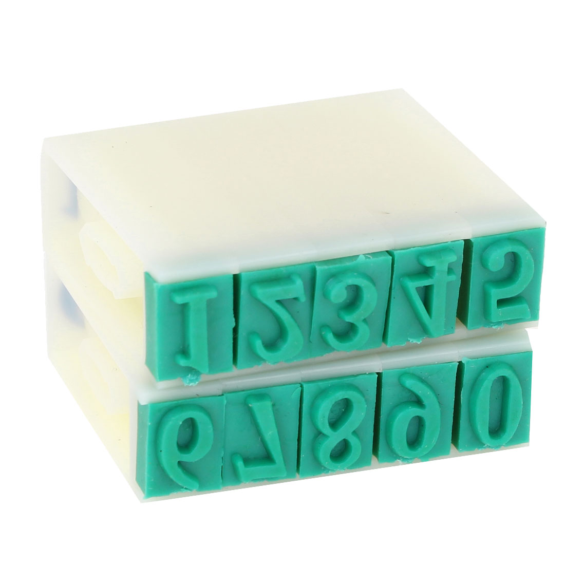 Green Rubber Head 10 Digits Arabic Numerals Combination Block Stamp