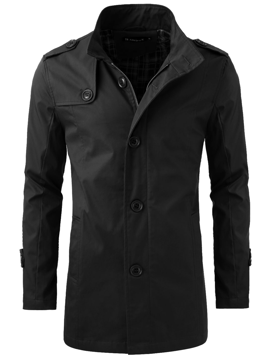 Mens Black Side Pockets Check Pattern Lining Casual Coat L