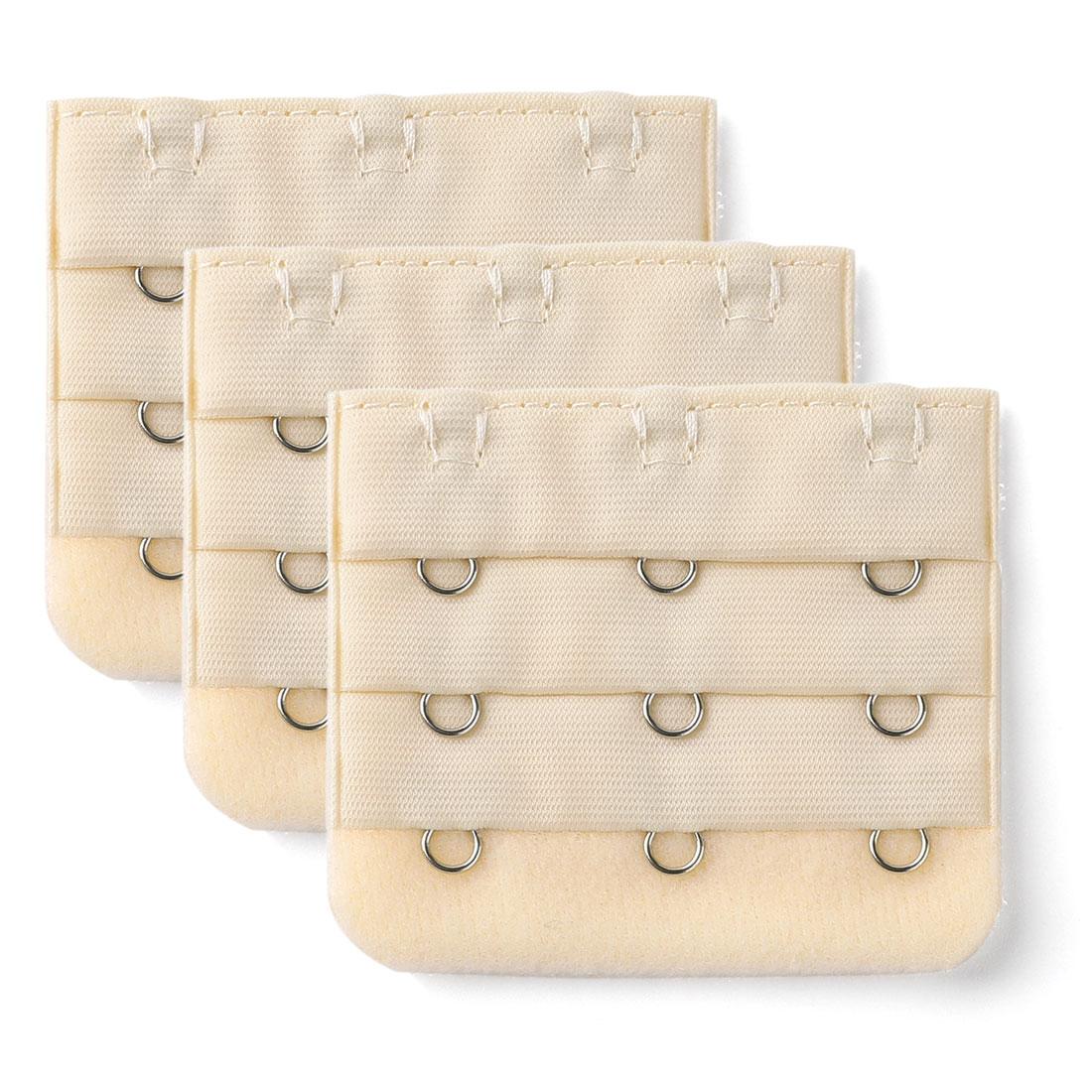 Women Bra Strap Extension 3 Hooks 3 Rows Underwear Buckle Hook Beige 3 Pcs