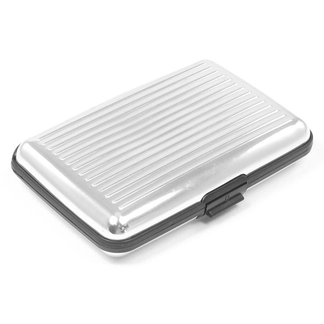 Silver Tone Vertical Striped Embossment Press Stud Closure Business Card Holder Case