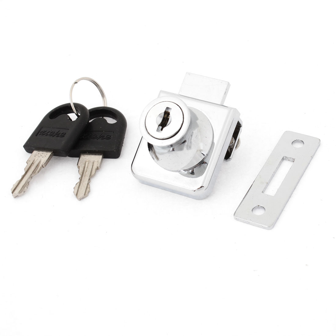 "Home Metal Keyed Cabinet Lock for 2/5"" Hinged Glass Door Silver Tone"