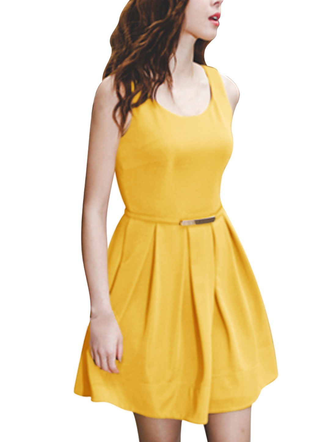 Women Yellow Sleeveless Concealed Zip Closure Back Cinched Waist Dress M w Belt