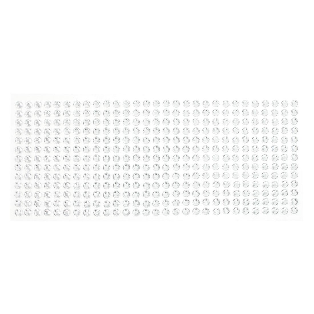 DIY Car Silver Tone Plastic Glitter Rhinestone Self Adhesive Sticker Sheet