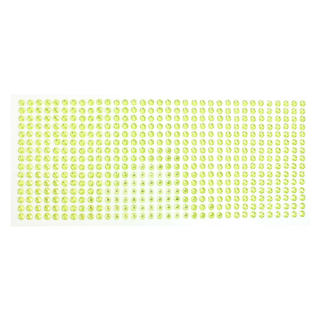 DIY Car Light Green Plastic Glitter Rhinestone Self Adhesive Sticker Sheet