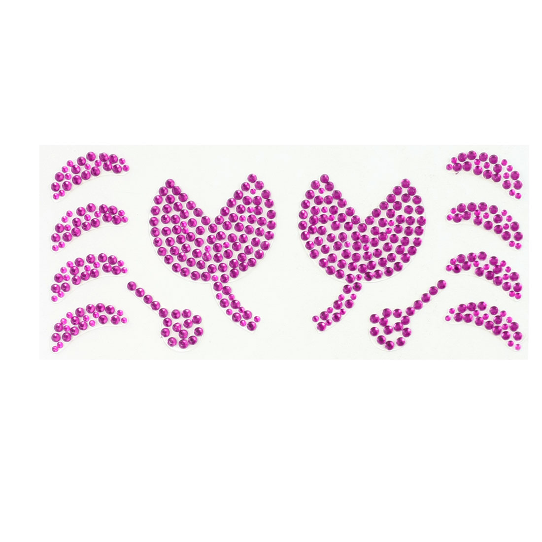 Fuchsia Plastic Rhinestone Flower Moon Style Auto Car Sticker Decal Sheet