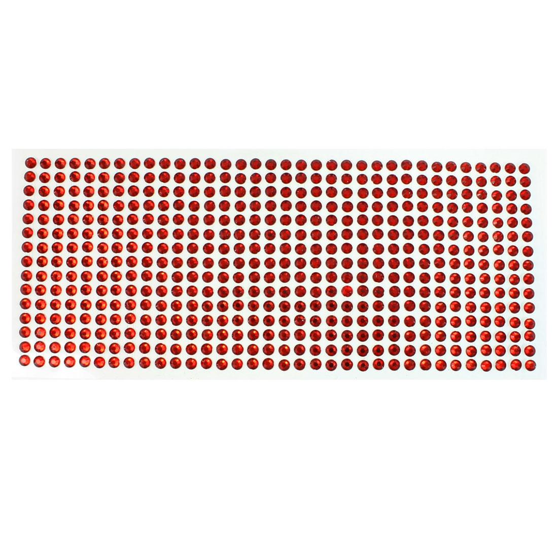 DIY Car Vehicles Red Plastic Glitter Rhinestone Self Adhesive Sticker Sheet