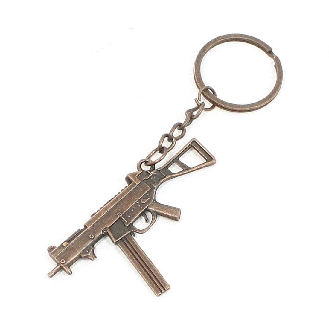 Flat Machine Gun Model Pendant Metal Keyring Handbag Ornament
