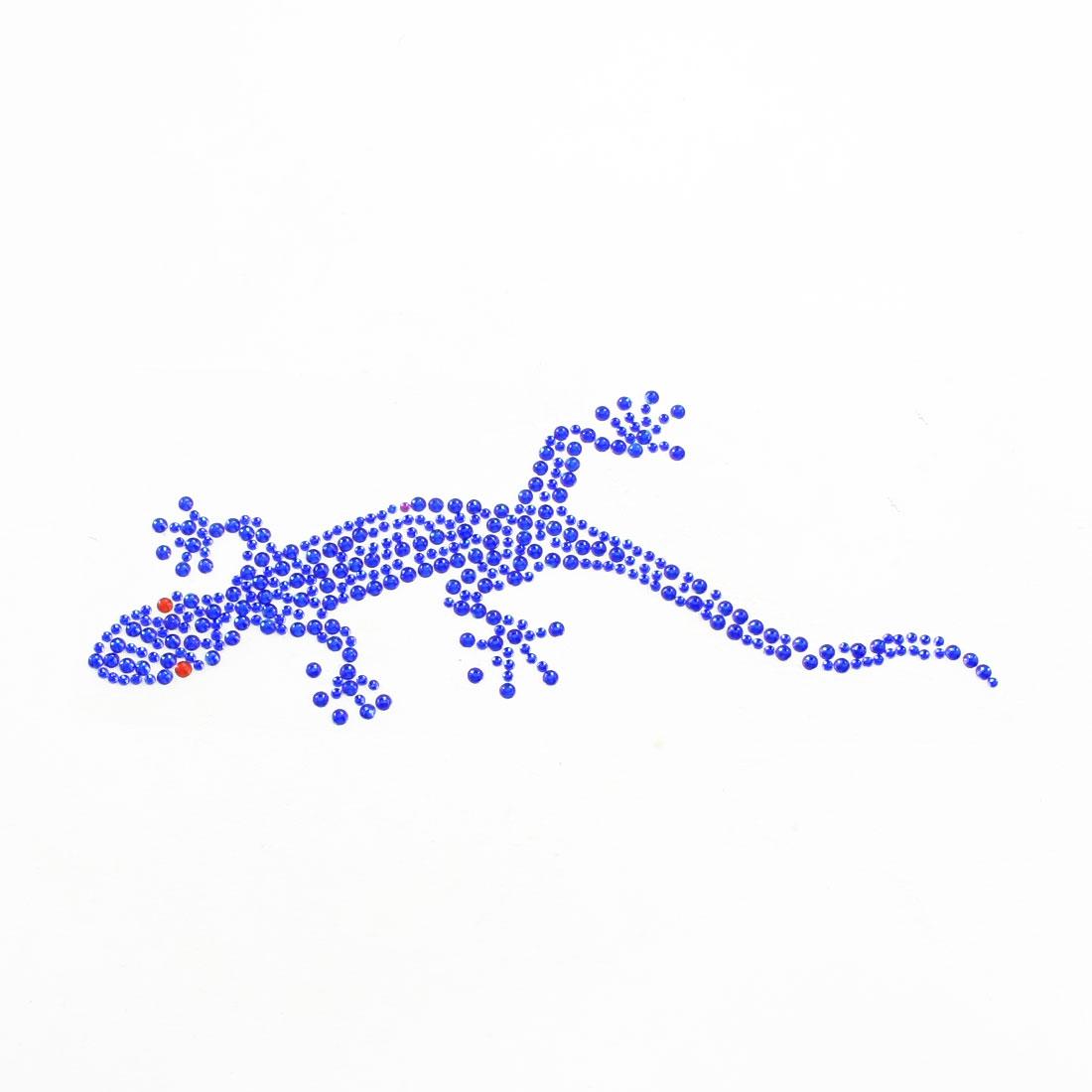 Bling Royal Blue Plastic Rhinestone Decor Wall Gecko Design 3D Sticker for Car