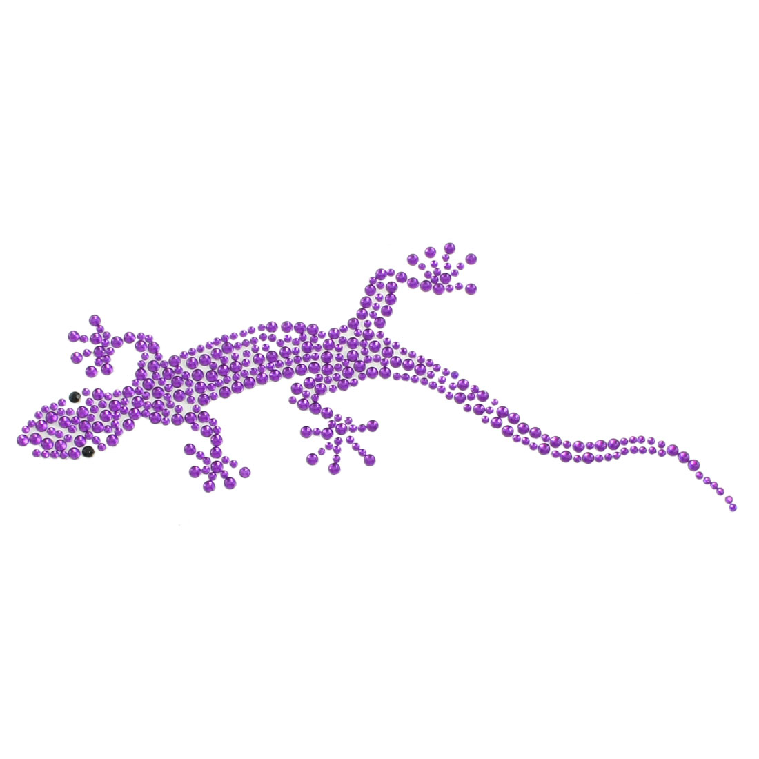 Bling Purple Plastic Rhinestone Decor Wall Gecko Design 3D Sticker for Auto Car