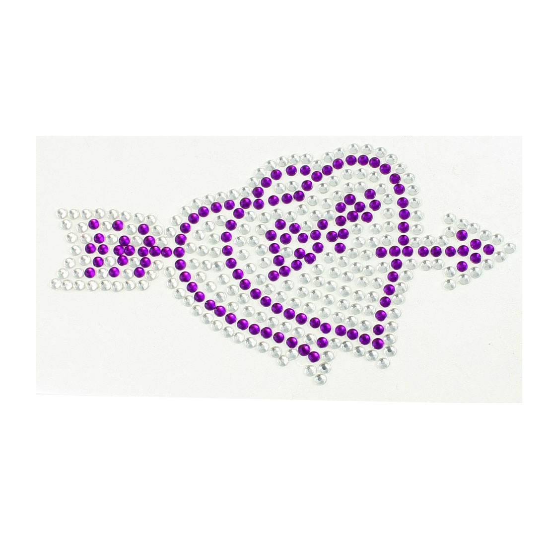 Silver Tone Purple Plastic Rhinestone Arrow Through Hearts Design Sticker for Car Vehicle