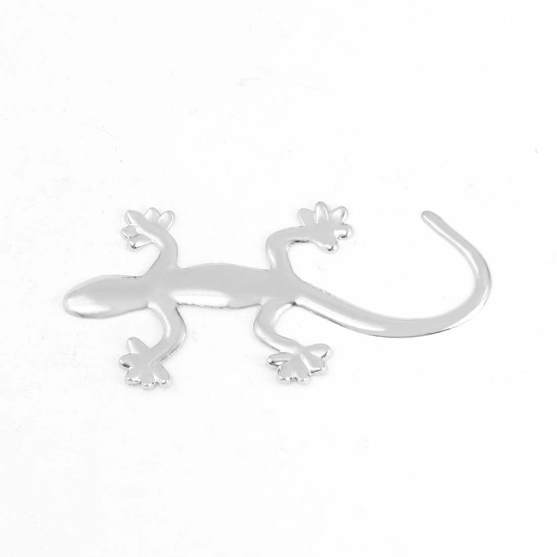 Car Vehicles Silver Tone Metal Wall Gecko Design Emblem Badge Sticker w Adhesive Tape