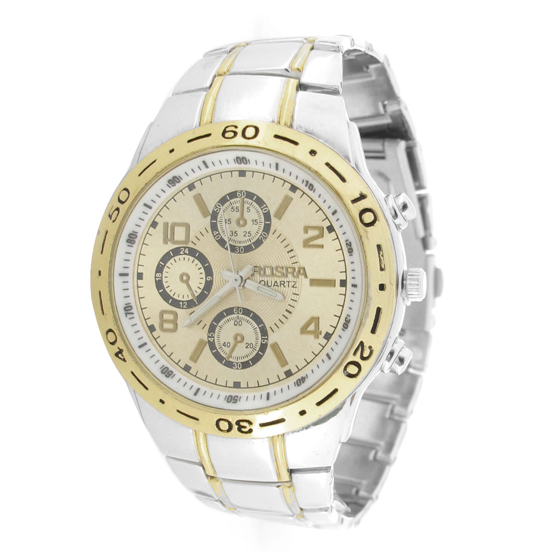 Men Silver Gold Tone Metal Band Round Dial Automatic Watch