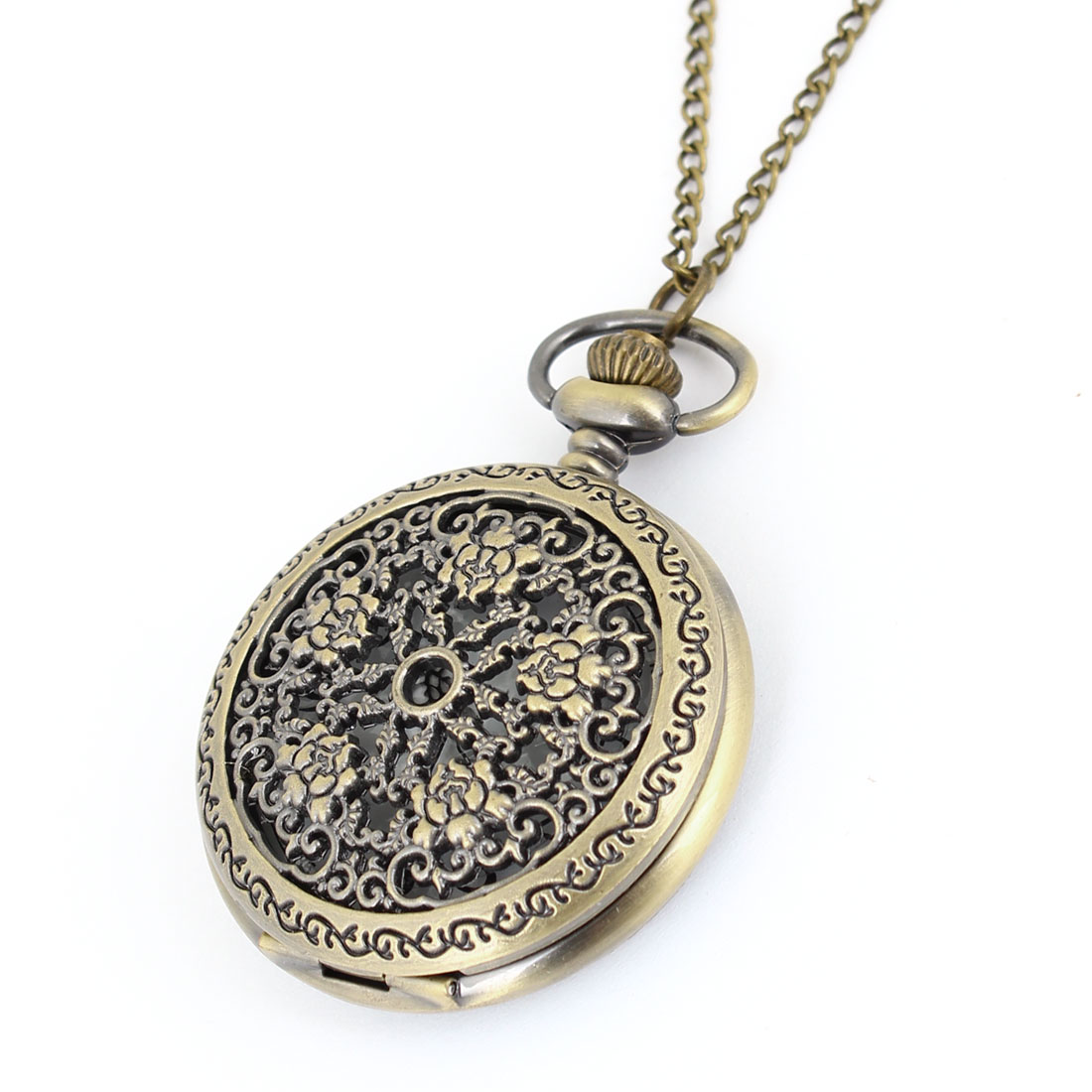 Arabic Number Display Round Dial Bronze Tone Embossed Pocket Watch for Women