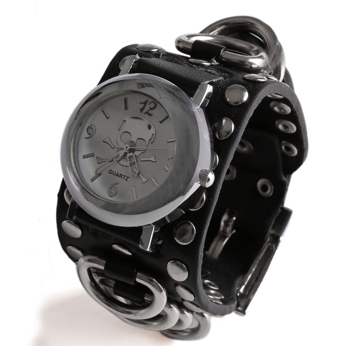 Punk Style Faux Leather Black Belt Ring Decor Skull Pin Buckle Round Dial Watch