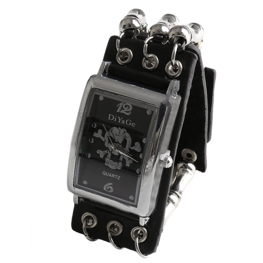 Black Belt Link Bone Skull Decor Punk Style Snap-fastener Skull Square Dial Watch